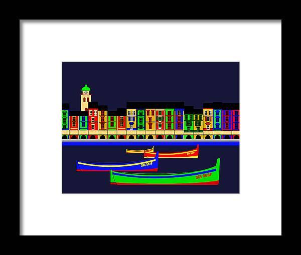 Portofino Framed Print featuring the digital art Portofino Inspirations by Asbjorn Lonvig