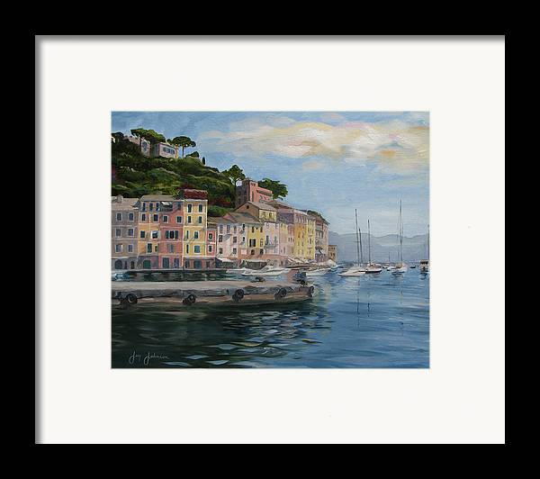 Framed Print featuring the painting Portofino Port by Jay Johnson