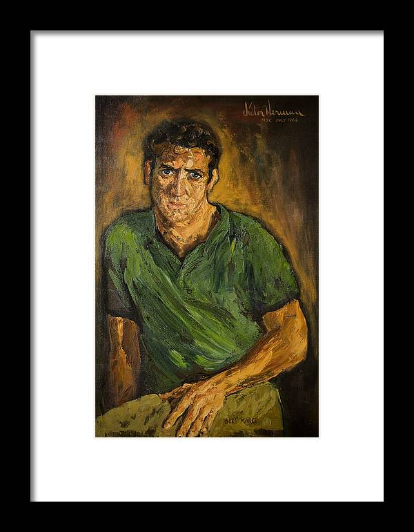 Man Framed Print featuring the painting Portrait - Bert Marge by Joni Herman