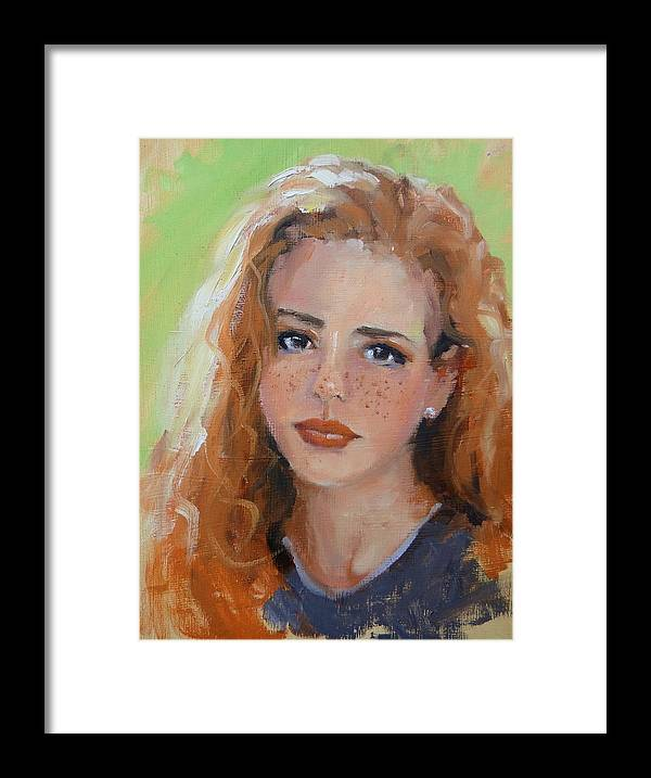 Portrait Framed Print featuring the painting Portrait Demo Four by Laura Lee Zanghetti