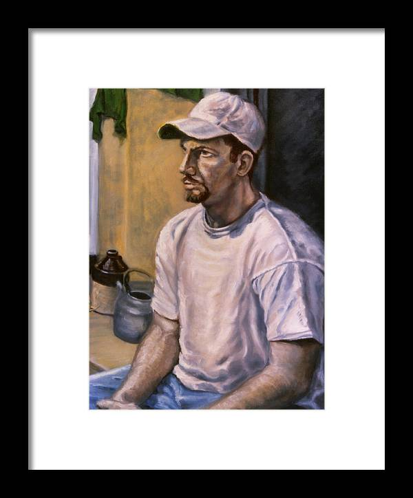 Man Framed Print featuring the painting Portrait Mark by John Clum