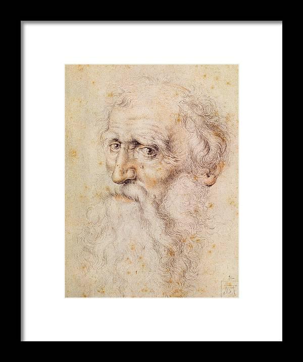 Albrecht Durer Or Duere Framed Print featuring the drawing Portrait Of A Bearded Old Man by Albrecht Durer or Duerer
