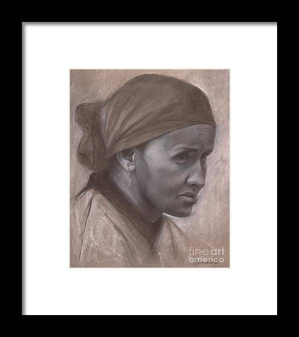 Jon Framed Print featuring the drawing Portrait of a Berber Woman by Jonathan Wommack
