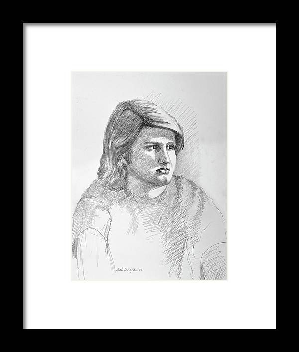 Realism Framed Print featuring the drawing Portrait Of A Boy by Keith Burgess