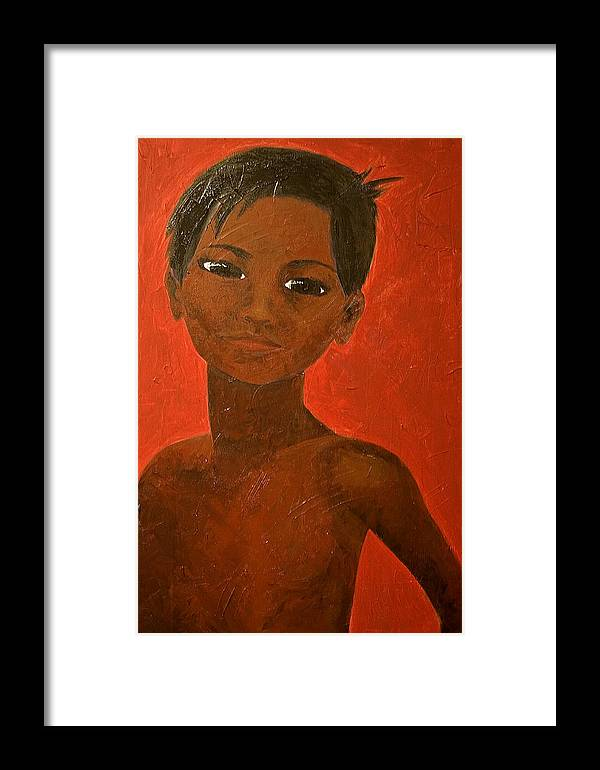 Portrait Framed Print featuring the painting Portrait Of A Boy by Michelle Key
