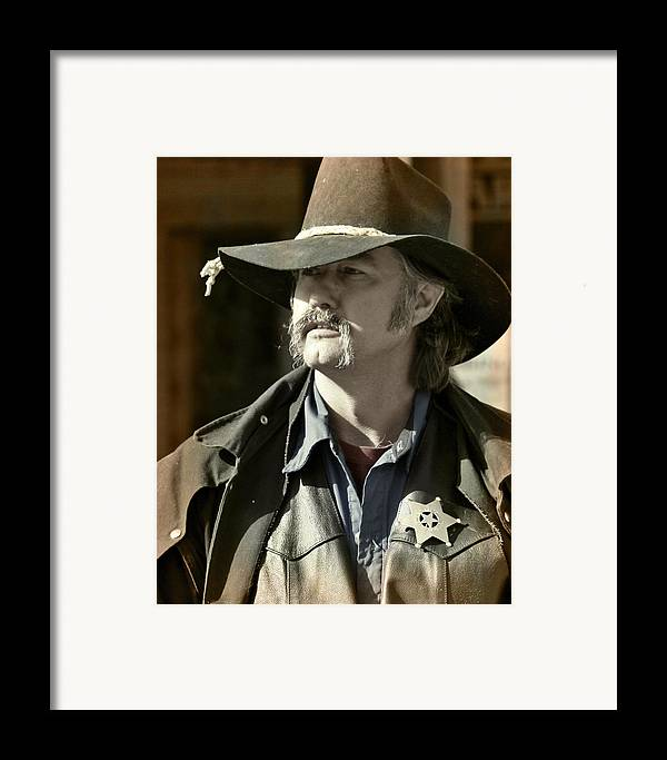 Portrait Framed Print featuring the photograph Portrait Of A Bygone Time Sheriff by Christine Till
