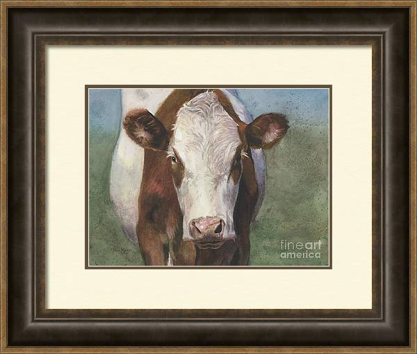 Cow Painting Framed Print featuring the painting Portrait Of A Cow Iv by Terri Meyer