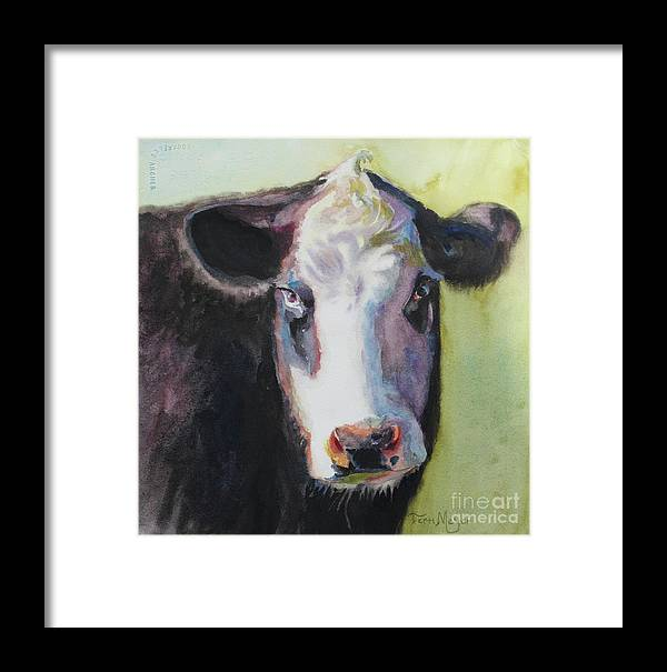 Cow Portrait Framed Print featuring the painting Portrait Of A Cow by Terri Meyer