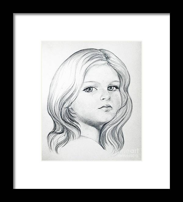 Portrait Girl Pencil Framed Print featuring the drawing Portrait Of A Girl by Stoyanka Ivanova
