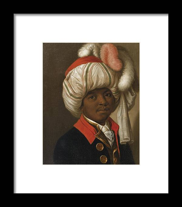 19th Century French School; Portrait Of A Man Wearing A Turban Framed Print featuring the painting Portrait Of A Man Wearing A Turban by Eastern Accents
