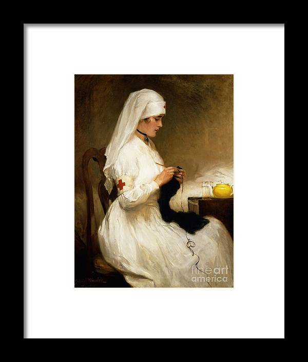 Portrait Framed Print featuring the painting Portrait Of A Nurse From The Red Cross by Gabriel Emile Niscolet