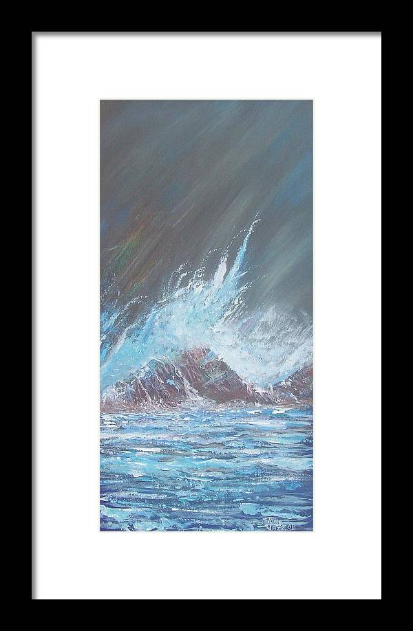 Seascape Framed Print featuring the painting Portrait Of A Wave by Tony Rodriguez