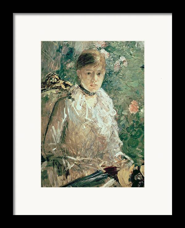 Portrait Framed Print featuring the painting Portrait Of A Young Lady by Berthe Morisot