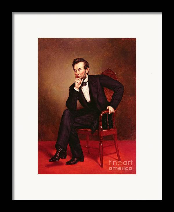 Portrait Of Abraham Lincoln (oil On Canvas) By George Peter Alexander Healy (1808-94) Framed Print featuring the painting Portrait Of Abraham Lincoln by George Peter Alexander Healy