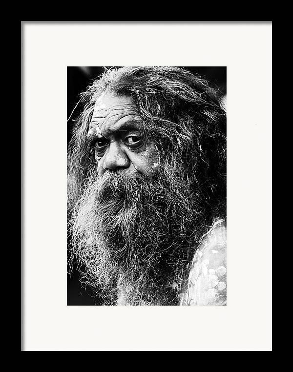 Aborigine Aboriginal Australian Framed Print featuring the photograph Portrait Of An Australian Aborigine by Sheila Smart Fine Art Photography