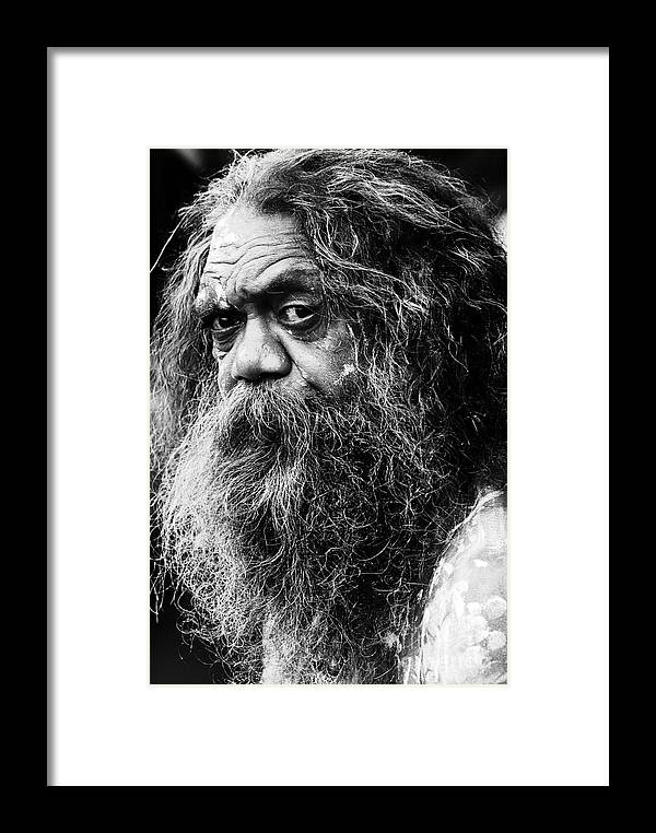 Aborigine Aboriginal Australian Framed Print featuring the photograph Portrait Of An Australian Aborigine by Sheila Smart Fine Art Photography
