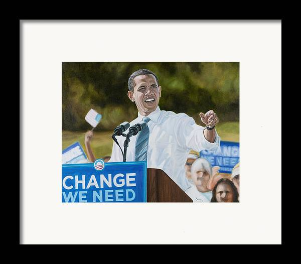 Obama Framed Print featuring the painting Portrait Of Barack Obama The Change We Need by Christopher Oakley