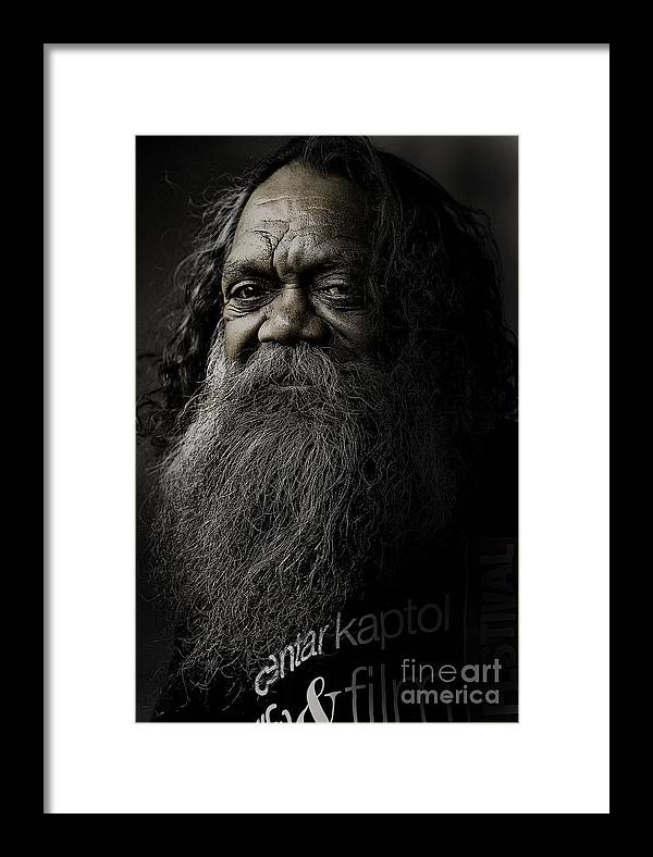 Aboriginal Framed Print featuring the photograph Portrait Of Cedric by Sheila Smart Fine Art Photography