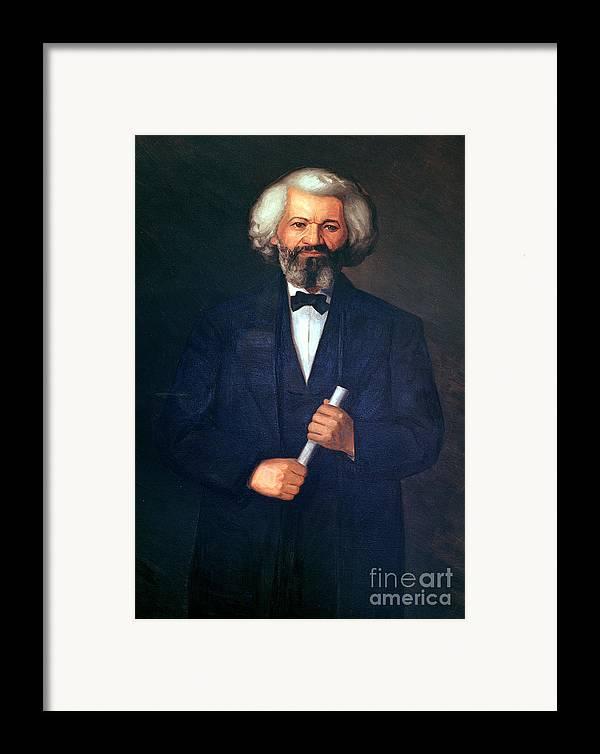 Portrait Of Frederick Douglass (1817-95) (oil On Canvas) By American School (19th Century) Framed Print featuring the painting Portrait Of Frederick Douglass by American School