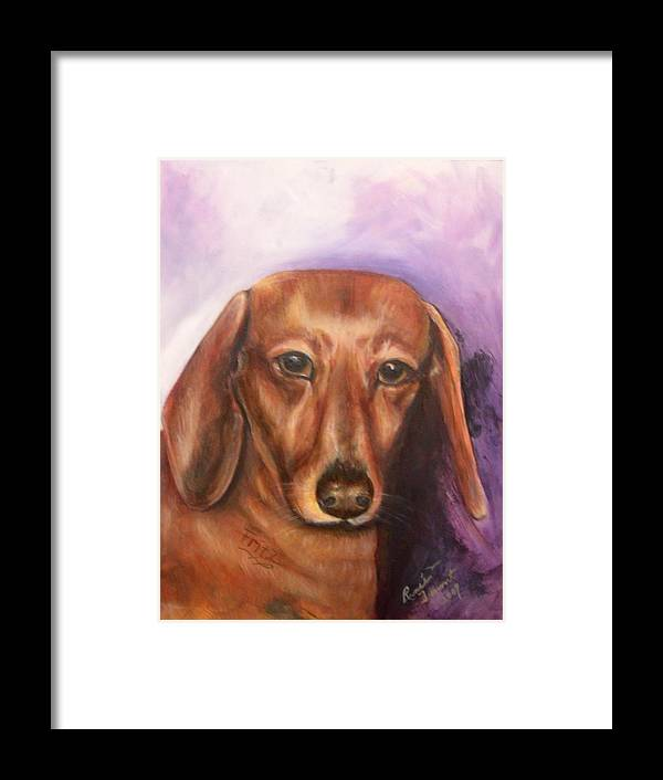 Pet Portrait Framed Print featuring the painting Portrait Of Fritz - Commissions Accepted by Renee Dumont Museum Quality Oil Paintings Dumont