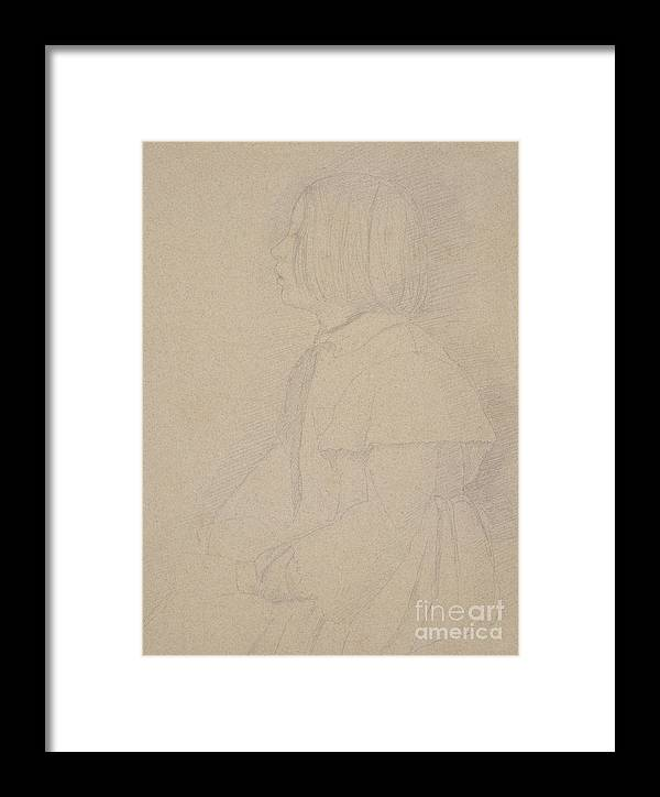 Degas Framed Print featuring the drawing Portrait Of Giulia Bellelli by Edgar Degas
