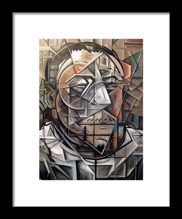 Cubism Cubist Portrait Abstract Framed Print featuring the painting Portrait Of H by Martel Chapman