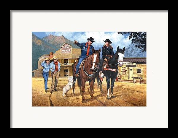 Western Framed Print featuring the painting Portrait Of Harry And Pat Bernstein by Harold Shull