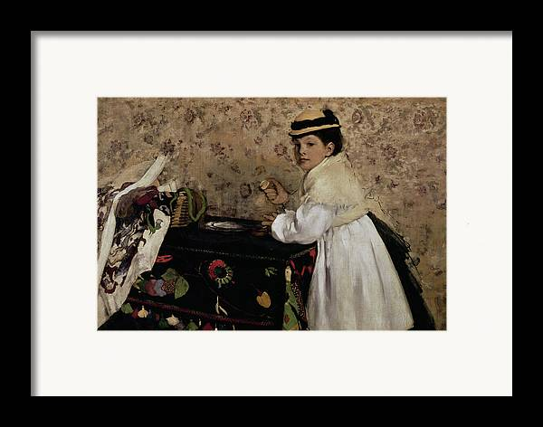 Portrait Of Hortense Valpincon As A Child Framed Print featuring the painting Portrait Of Hortense Valpincon As A Child by Edgar Degas