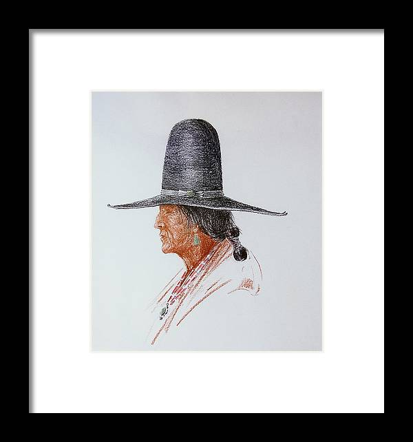 Cowboy Framed Print featuring the drawing Portrait Of Indian by Smart Healthy Life