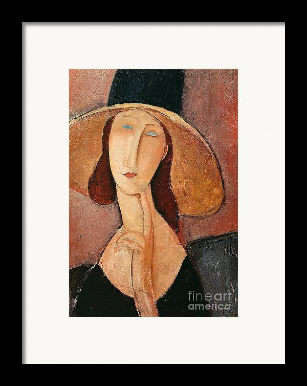Portrait Framed Print featuring the painting Portrait Of Jeanne Hebuterne In A Large Hat by Amedeo Modigliani