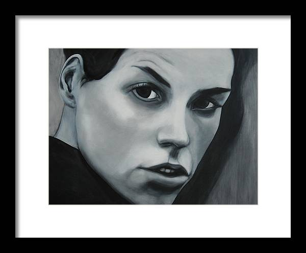 Portrait Painting Framed Print featuring the painting Portrait Of Leona Naess by Kevin Schmoldt