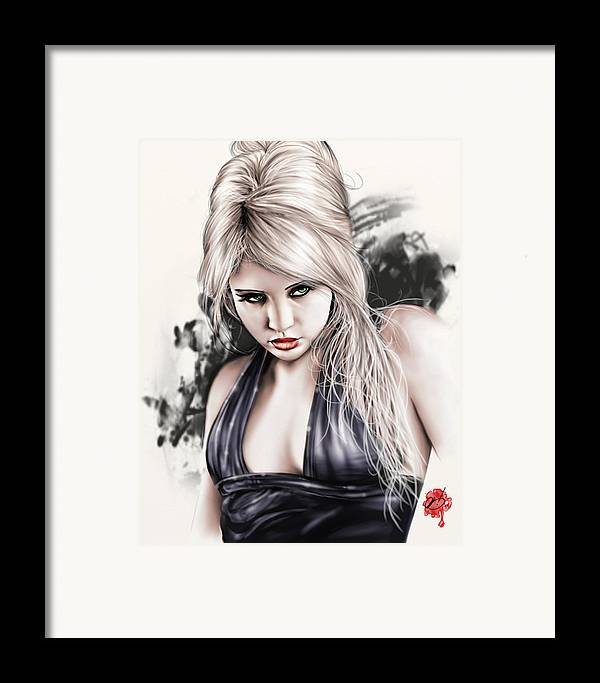 Pete Framed Print featuring the painting Portrait Of Miss Mosh by Pete Tapang