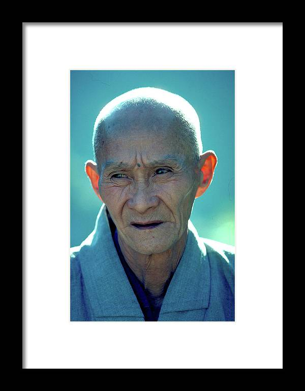 Portrait Framed Print featuring the photograph Portrait Of Monk In China by Carl Purcell