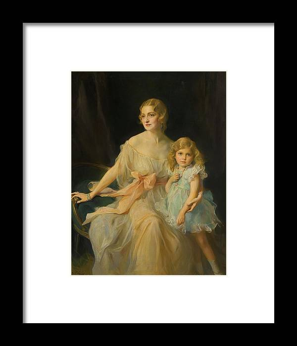 Philip Alexius De L�szl�(1869-1937) Portrait Of Mrs. Claude Leigh And Miss Virginia Leigh Framed Print featuring the painting Portrait Of Mrs Claude by Philip Alexius