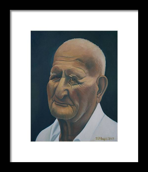 Portrait Framed Print featuring the painting Portrait Of Old Man In St. Louis by Stephen Degan