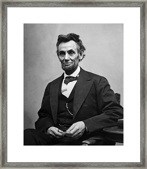 Portrait Of President Abraham Lincoln Framed Print By
