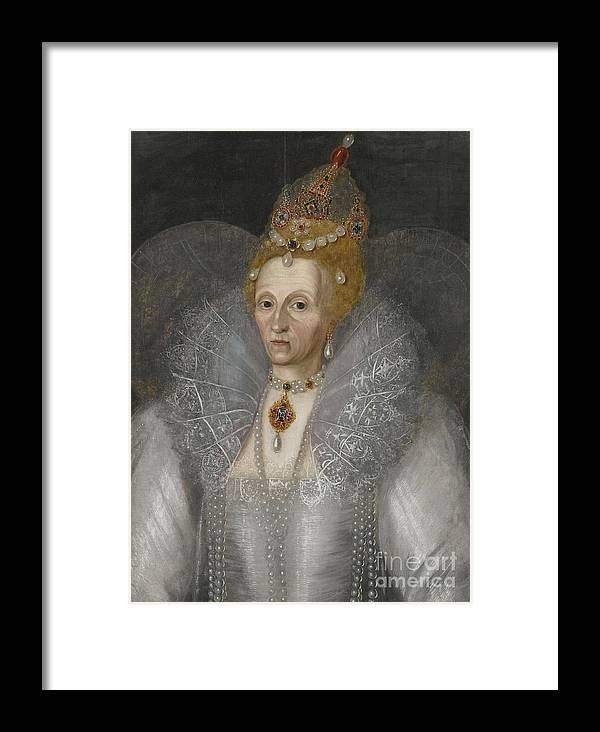 Marcus Gheeraerts The Younger Portrait Of Queen Elizabeth I (1533�1603). Old Woman Framed Print featuring the painting Portrait Of Queen Elizabeth by MotionAge Designs