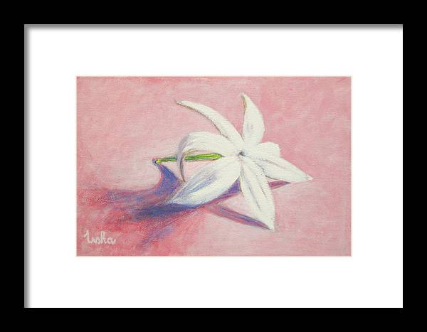 Portrait Framed Print featuring the painting Portrait Of The Jasmine Flower by Usha Shantharam