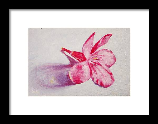 Genneri Framed Print featuring the painting Portrait Of The Kaneri Flower. Oleander by Usha Shantharam