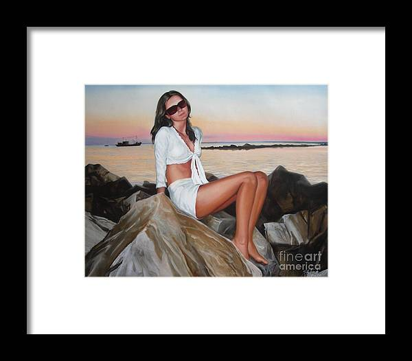 Art Framed Print featuring the painting Portrait by Sergey Ignatenko
