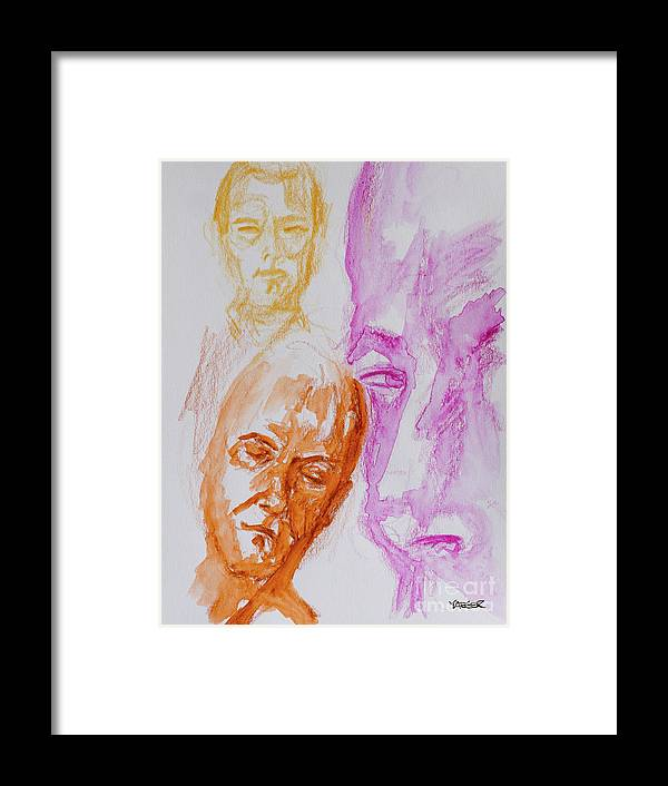 Draw Framed Print featuring the painting Portraits In 3b by Robert Yaeger