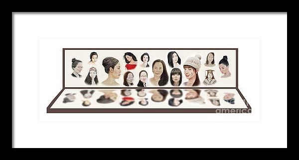 Portraits Of Lovely Asian Women Framed Print featuring the mixed media Portraits Of Lovely Asian Women by Jim Fitzpatrick