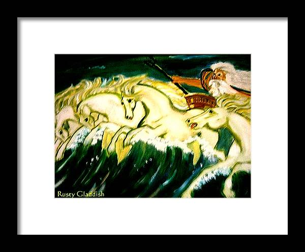 Mythical Framed Print featuring the painting Poseidon by Rusty Gladdish