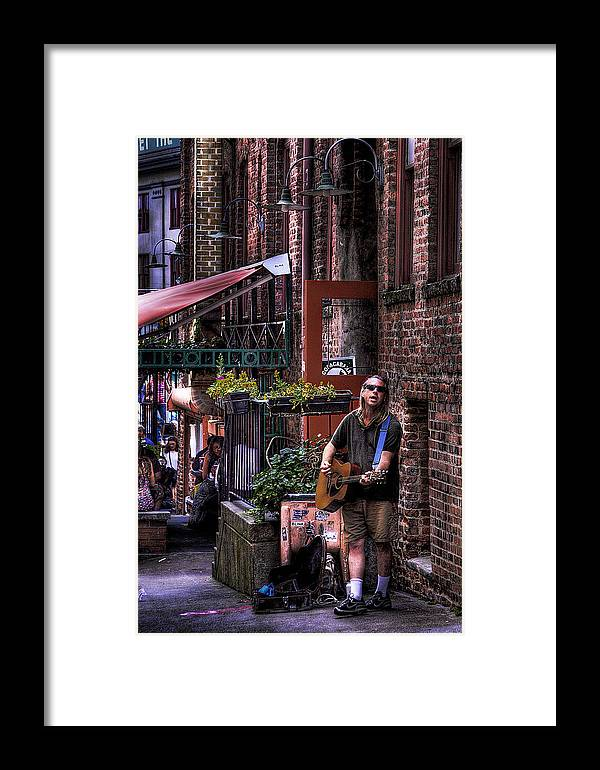 Post Alley Musician Framed Print featuring the photograph Post Alley Musician by David Patterson