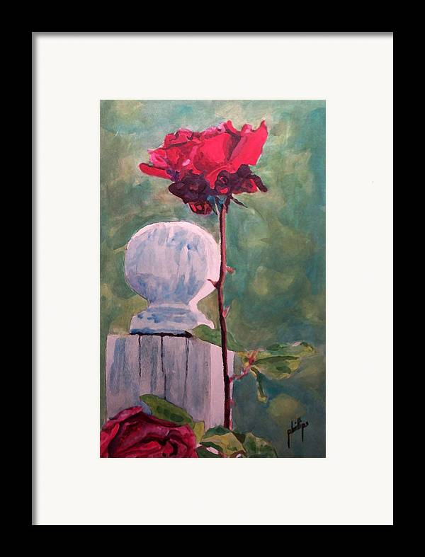Post Framed Print featuring the painting Post And The Rose by Jim Phillips