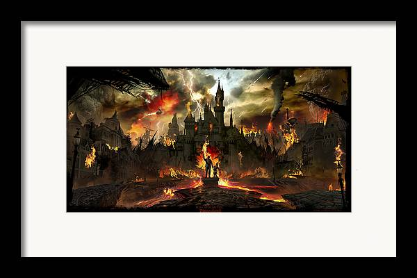 Disneyland Framed Print featuring the digital art Post Apocalyptic Disneyland by Alex Ruiz