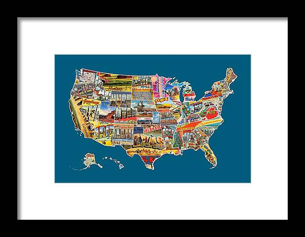 Postcards Of The United States Vintage Usa All 50 States Map Framed ...