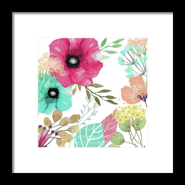Flowers Framed Print featuring the painting Posy by Mindy Sommers