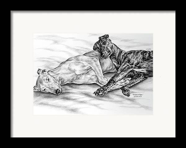 Greyhound Framed Print featuring the drawing Potato Chips - Two Greyhound Dogs Print by Kelli Swan