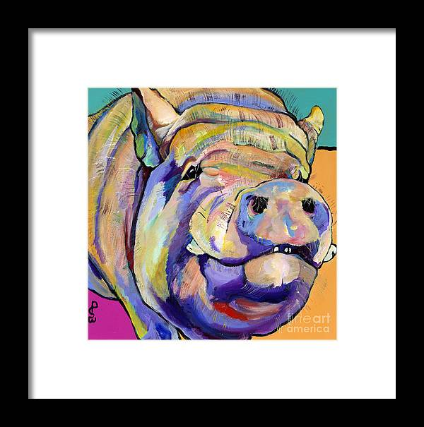Pig Prints Framed Print featuring the painting Potbelly by Pat Saunders-White